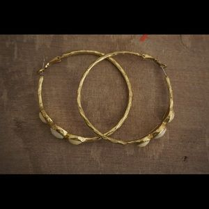 Gold clasp back hoops with yellow and white stone detail